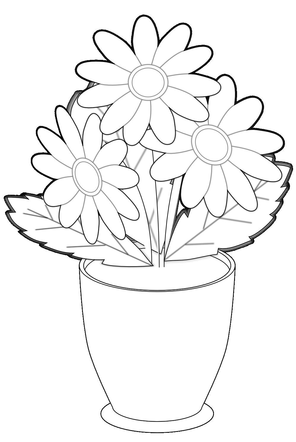 Black and white flowers in a vase clipart