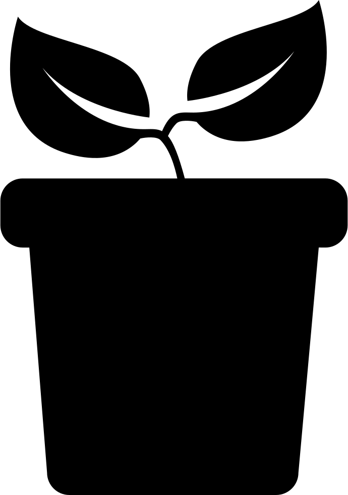 Black and white football clipart side view png library download Plant With Two Leaves On A Pot Side View Svg Png Icon Free Download ... png library download