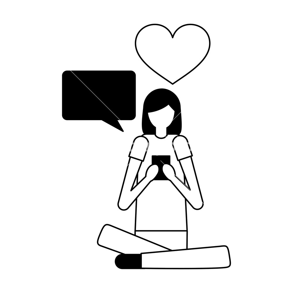 Black and white free clipart women chatting clip free download woman with mobile chatting love vector illustration Royalty-Free ... clip free download