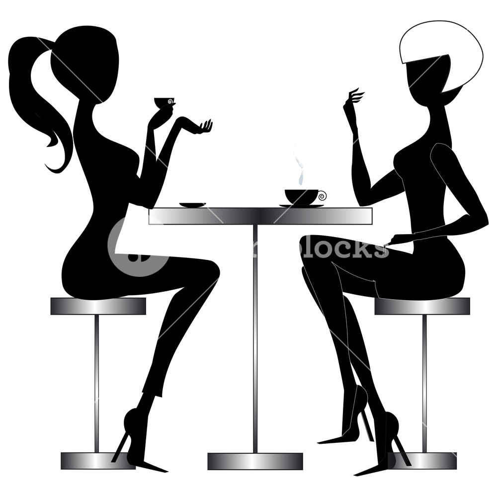 Black and white free clipart women chatting clip art freeuse download Two young chatting women sitting at a table in a modern bar ... clip art freeuse download