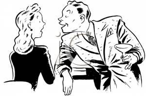 Black and white free clipart women chatting banner freeuse library A Black and White Cartoon of a Man Chatting Up a Woman At a Bar ... banner freeuse library