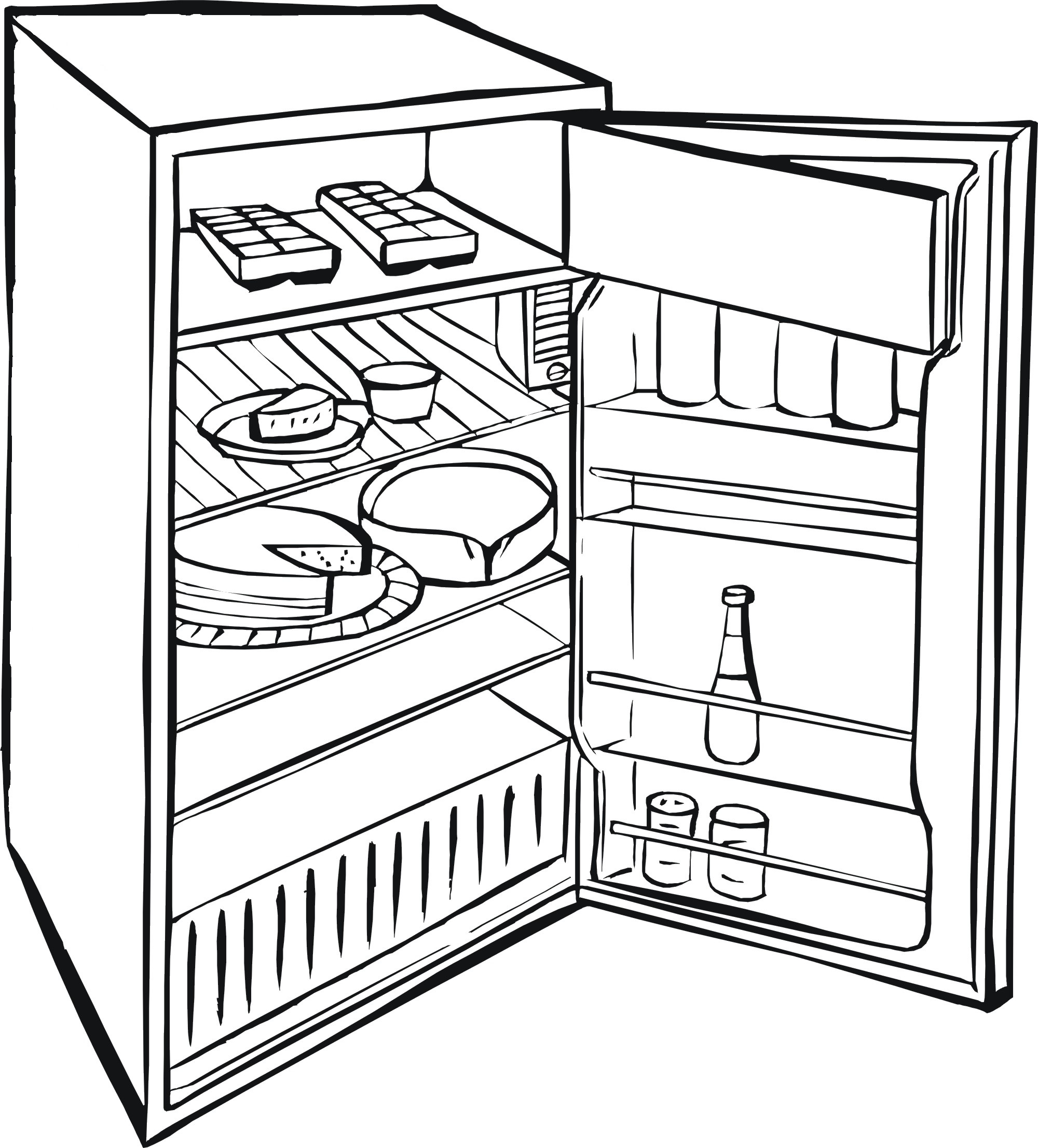 Black and white fridge clipart jpg transparent Refrigerator Sketch at PaintingValley.com | Explore collection of ... jpg transparent