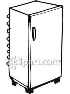 Black and white fridge clipart vector freeuse Simple Black and White Refrigerator - Royalty Free Clipart Picture vector freeuse