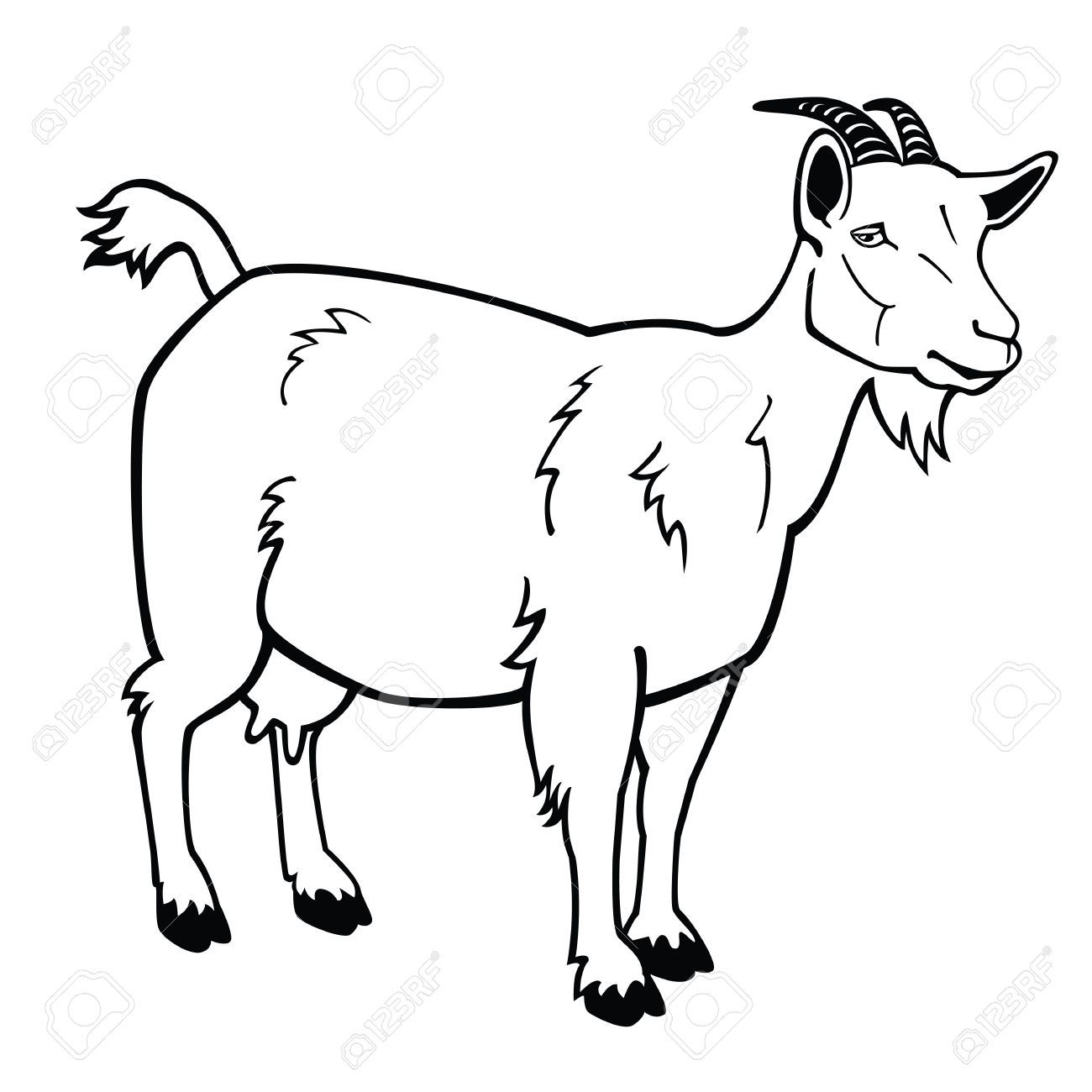 Black and white goat clipart vector black and white stock Black and white goat clipart 5 » Clipart Portal vector black and white stock