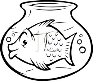 Black and white gold fish bowl clipart