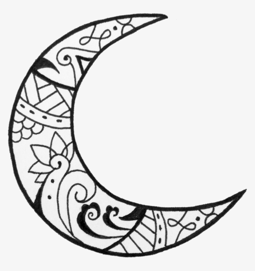 Black and white half moon designs clipart clip freeuse library Crescent Moon Designs Henna Photo - Moon Drawing PNG Image ... clip freeuse library