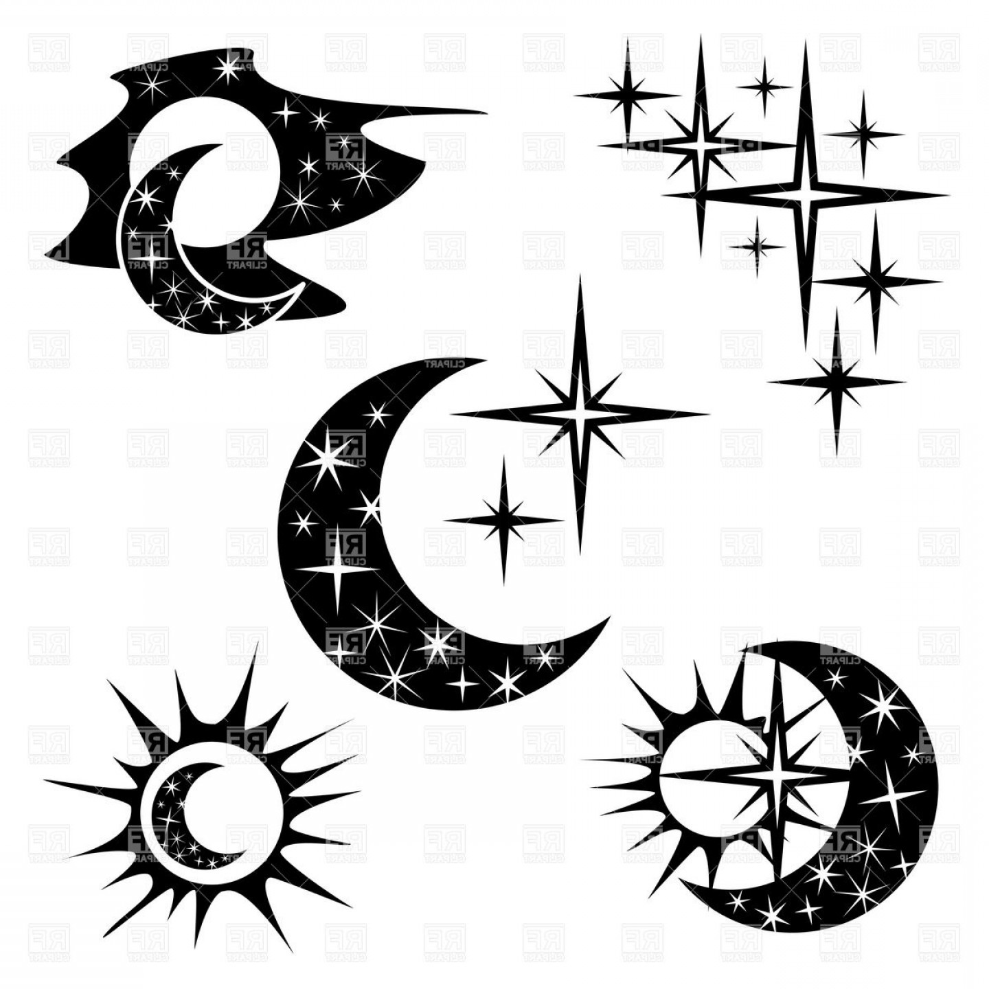 Black and white half moon designs clipart clip art library library Night And Half Moon Crescent With Star Pattern Vector Clipart | SOIDERGI clip art library library