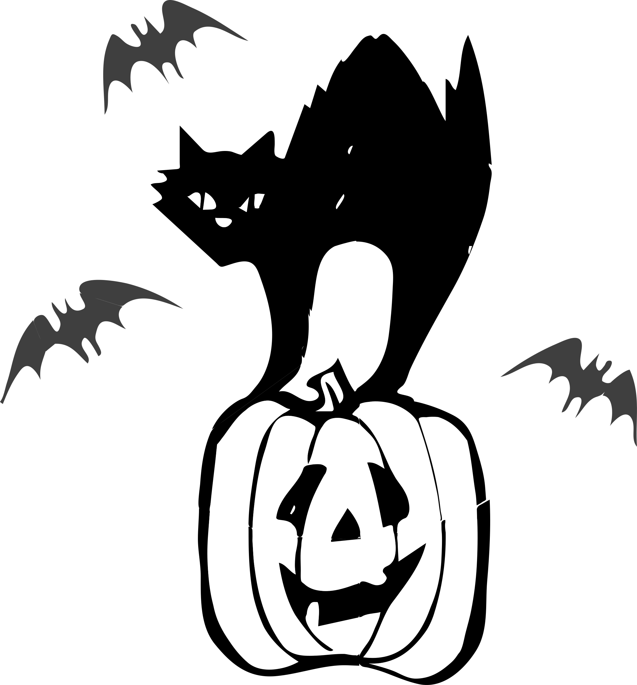 Black cat clipart black and white image free download Clipart - Architetto Gatto nero (Black Cat Halloween) image free download