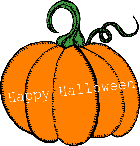 Pumpkin with leaves border clipart free picture free Happy Halloween Pumpkin Clip Art at Clker.com - vector clip art ... picture free