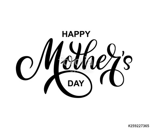 Black and white happy mother s day clipart greetings png library stock Happy Mothers day vector greeting card on white background. Hand ... png library stock