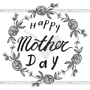 Black and white happy mother s day clipart greetings freeuse download Greeting Card For Gift Tag Decor. Happy Mother`s Day - vector clipart freeuse download