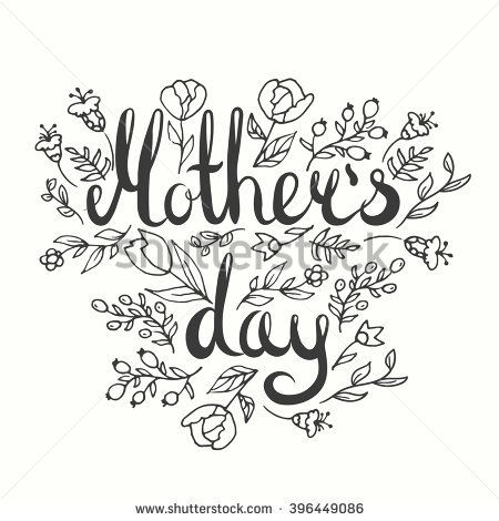 Black and white happy mother s day clipart greetings vector download Mother\'s day lettering card. Modern calligraphy card. Doodle floral ... vector download