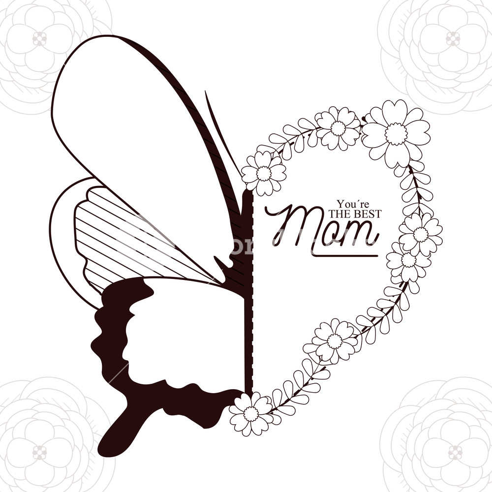 Black and white happy mother s day clipart greetings clip art Happy mothers day card with beautiful butterflies and flowers on ... clip art