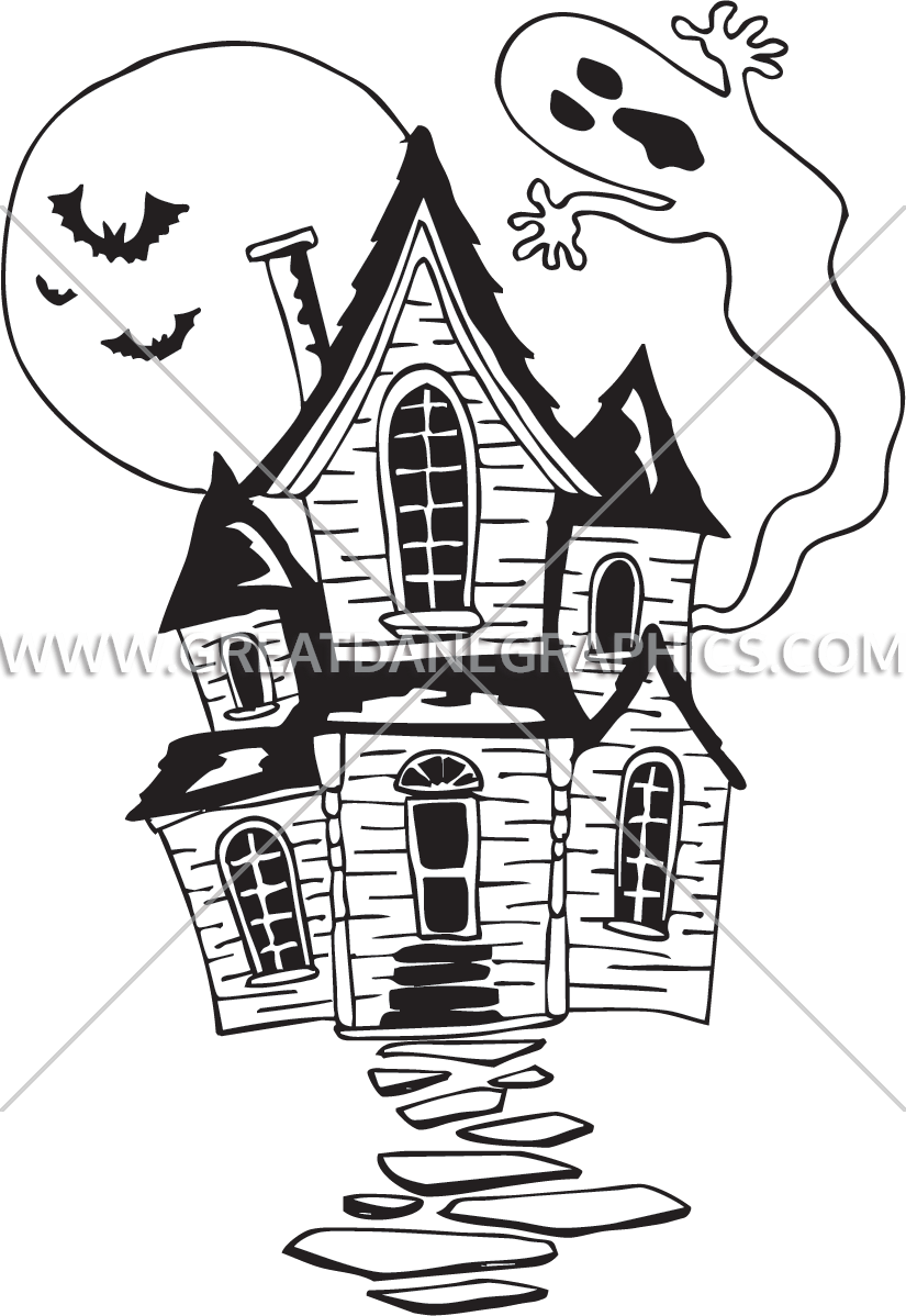 Black and white haunted house clipart picture library library Haunted House | Production Ready Artwork for T-Shirt Printing picture library library