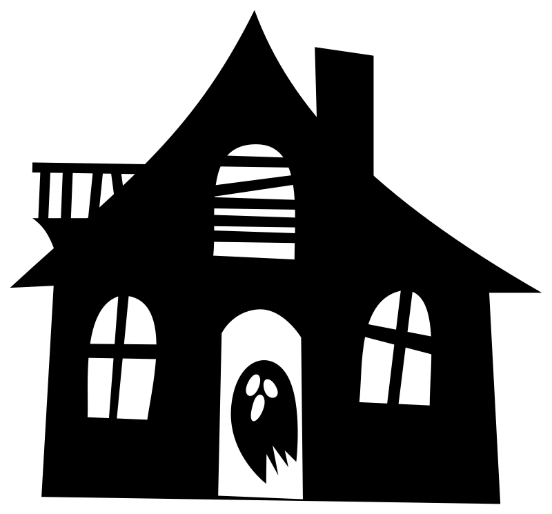 Black and white haunted house clipart free library Clipart - Haunted house silhouette free library