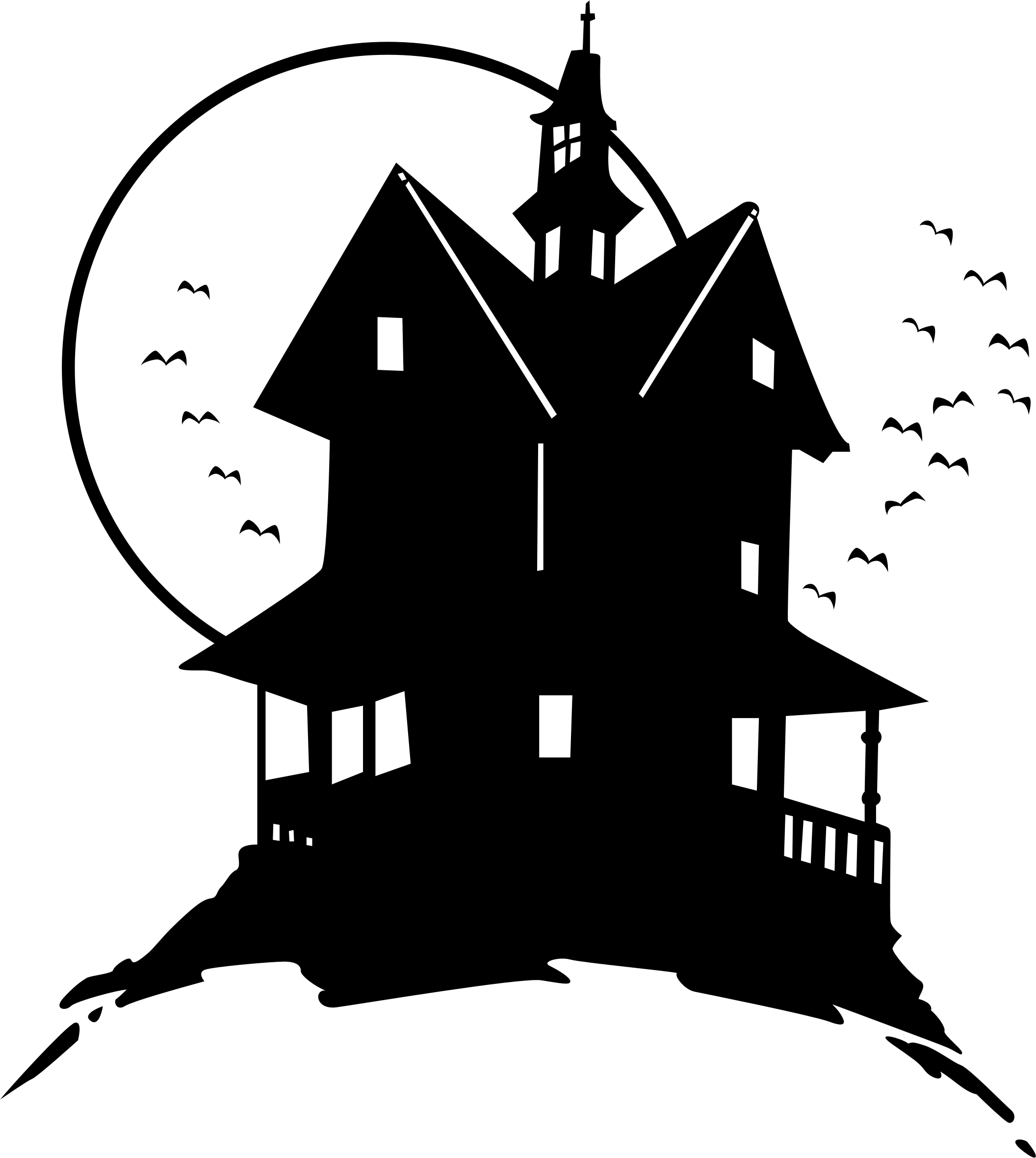 Black and white haunted house clipart vector stock Clipart - haunted house on the hill vector stock