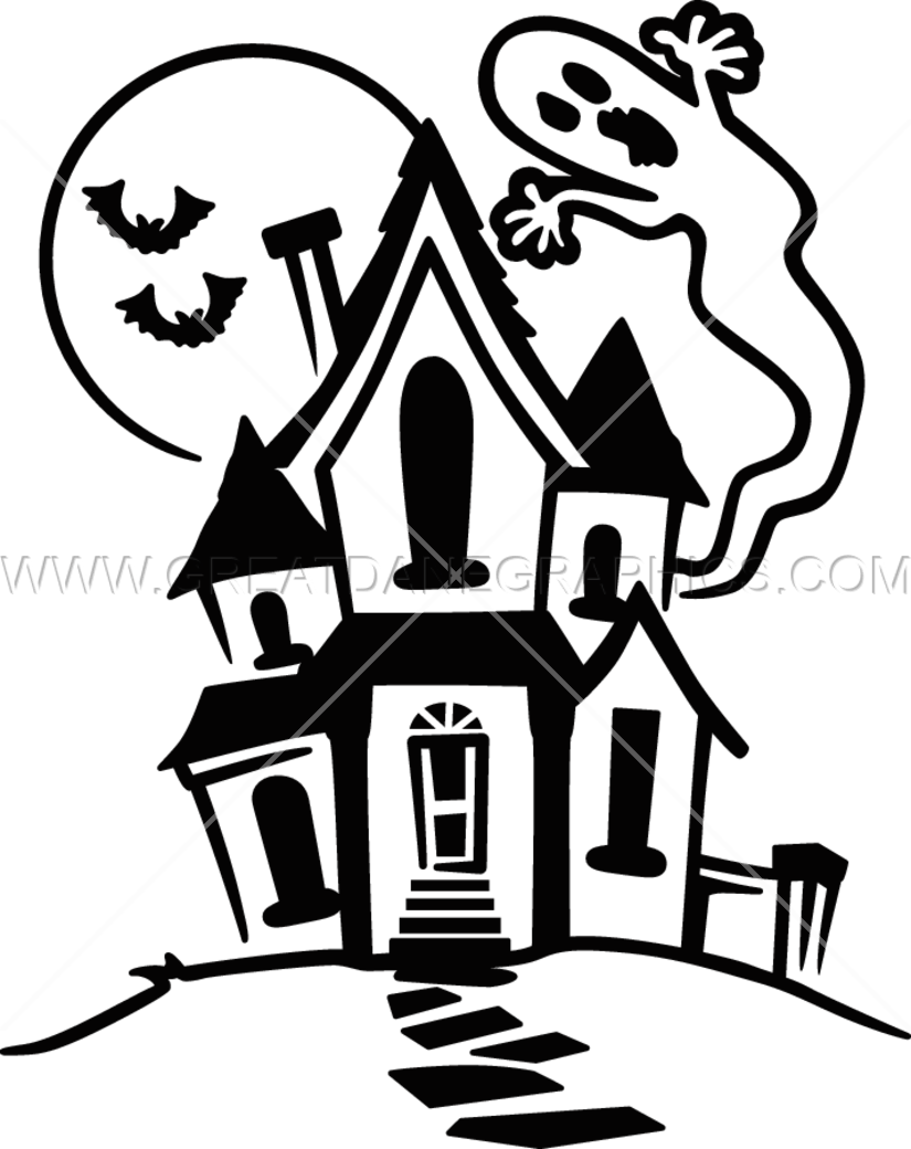 Black and white haunted house clipart jpg library stock Haunted House | Production Ready Artwork for T-Shirt Printing jpg library stock