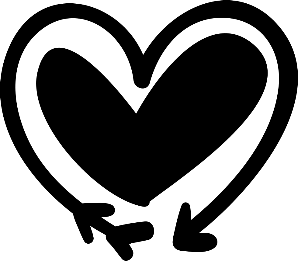 Black and white heart and arrow clipart image royalty free library Arrow And Heart Doodle Svg Png Icon Free Download (#70908 ... image royalty free library
