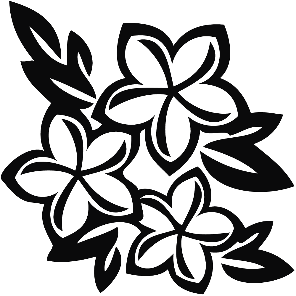 Clipart black and white flower design clipart royalty free Hawaiian Tree White Flowers | Jos Gandos Coloring Pages For Kids ... clipart royalty free