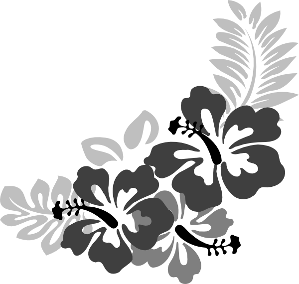 Black and white hibiscus flower clipart jpg black and white stock Grey Hibiscus 3 Clip Art at Clker.com - vector clip art online ... jpg black and white stock