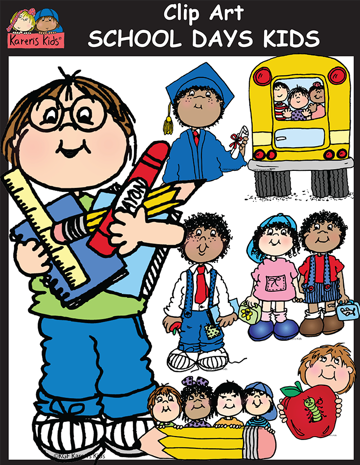Black and white high school kids clipart clip art free library School Days Kids clipart contains 48 high quality image files. 24 ... clip art free library