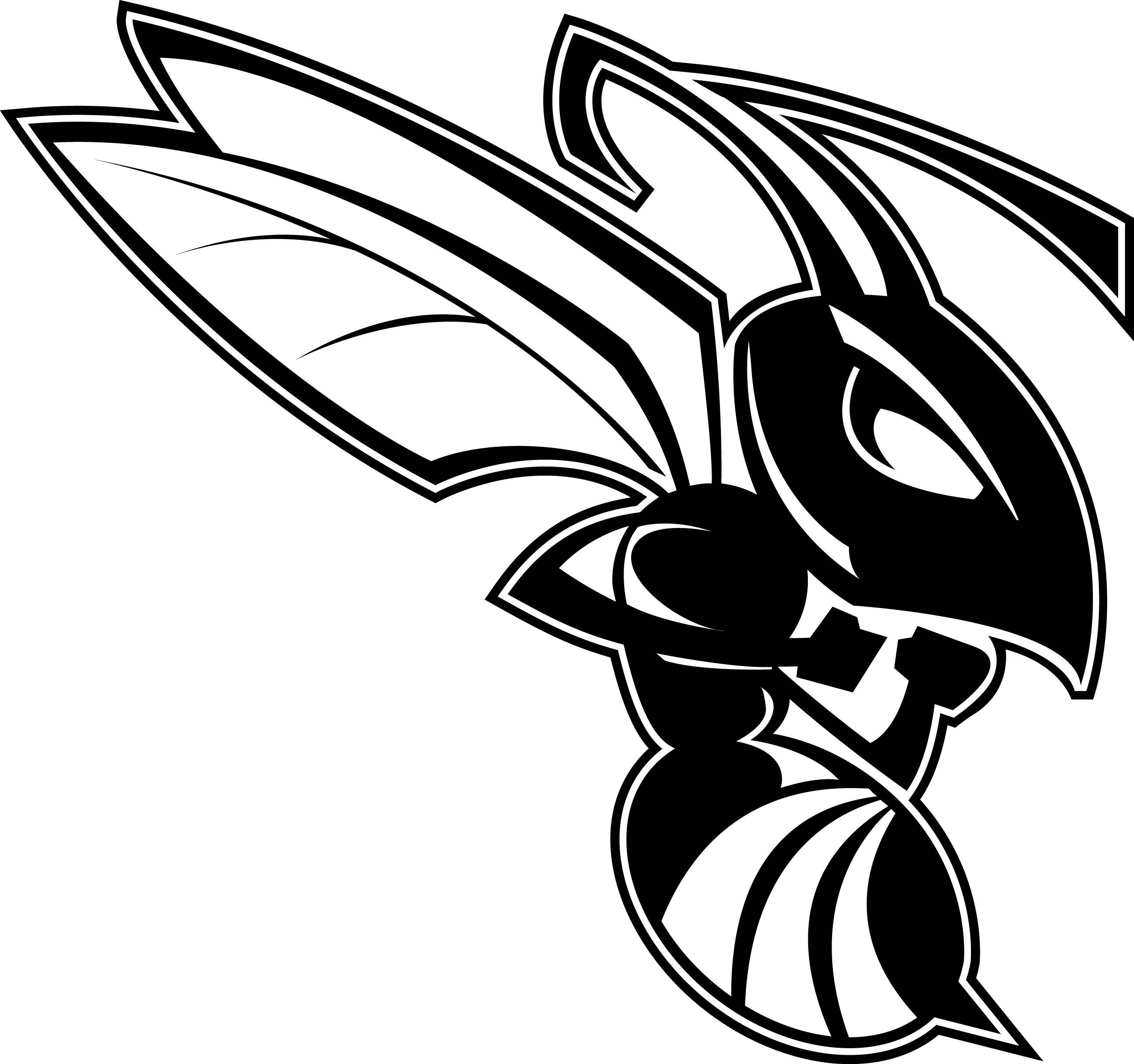 Black and white hornet clipart
