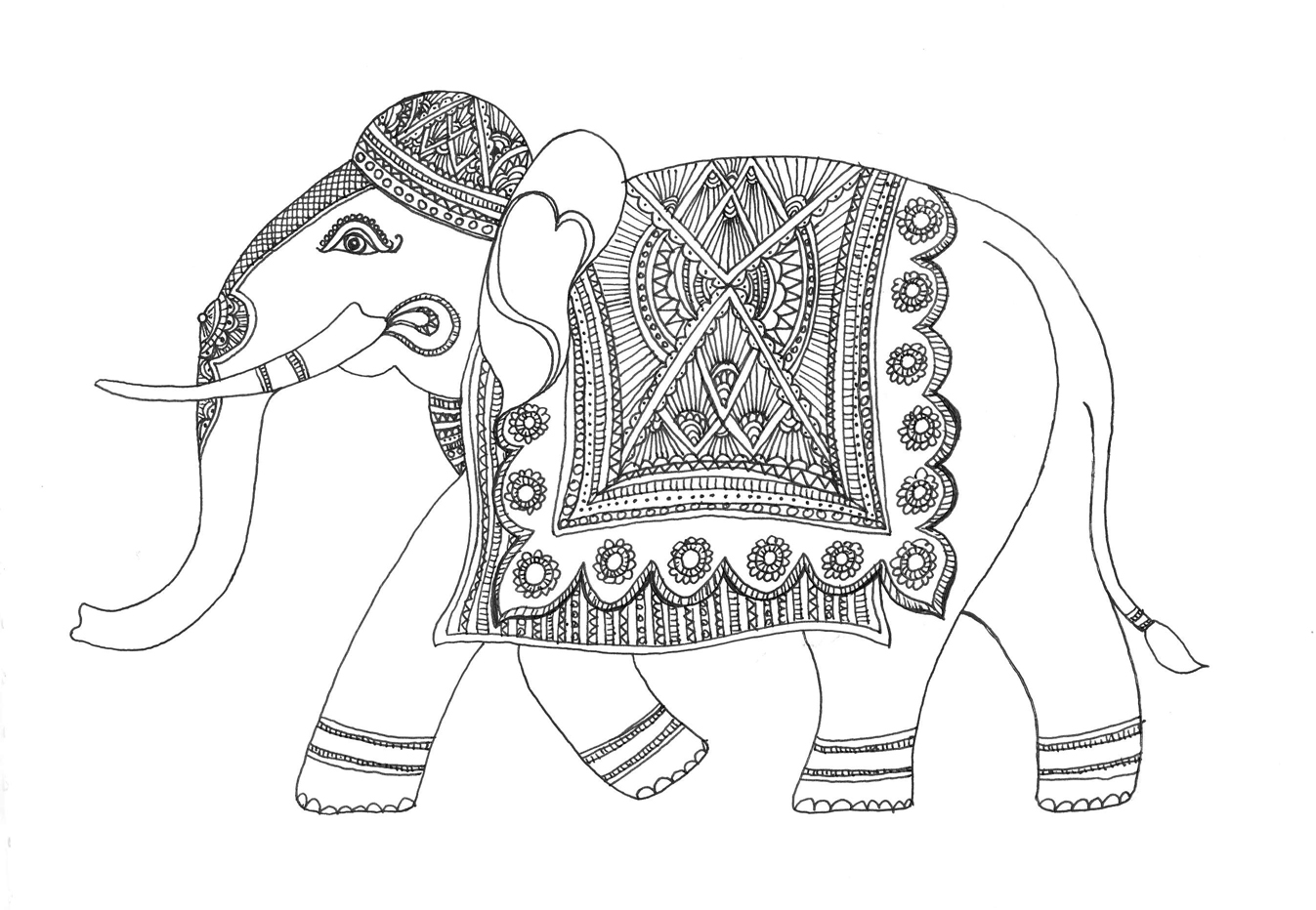 Black and white indian painted elephant clipart image transparent library Elephant Black And White Sketch at PaintingValley.com | Explore ... image transparent library