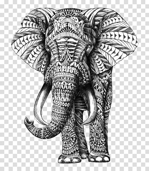 Black and white indian painted elephant clipart jpg royalty free library Gray and black elephant illustration, Indian elephant Drawing ... jpg royalty free library