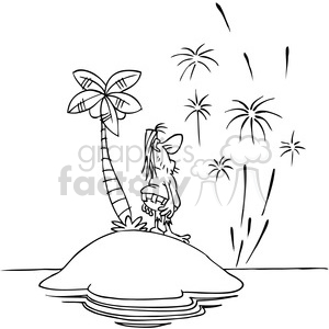 Black and white island clipart svg freeuse black white cartoon happy new year from island clipart. Royalty-free  clipart # 387941 svg freeuse