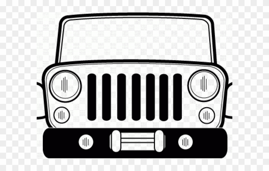 Black and white jeep clipart free stock Grill Clipart Jeep Cj - Front Of Jeep Clip Art - Png Download ... free stock