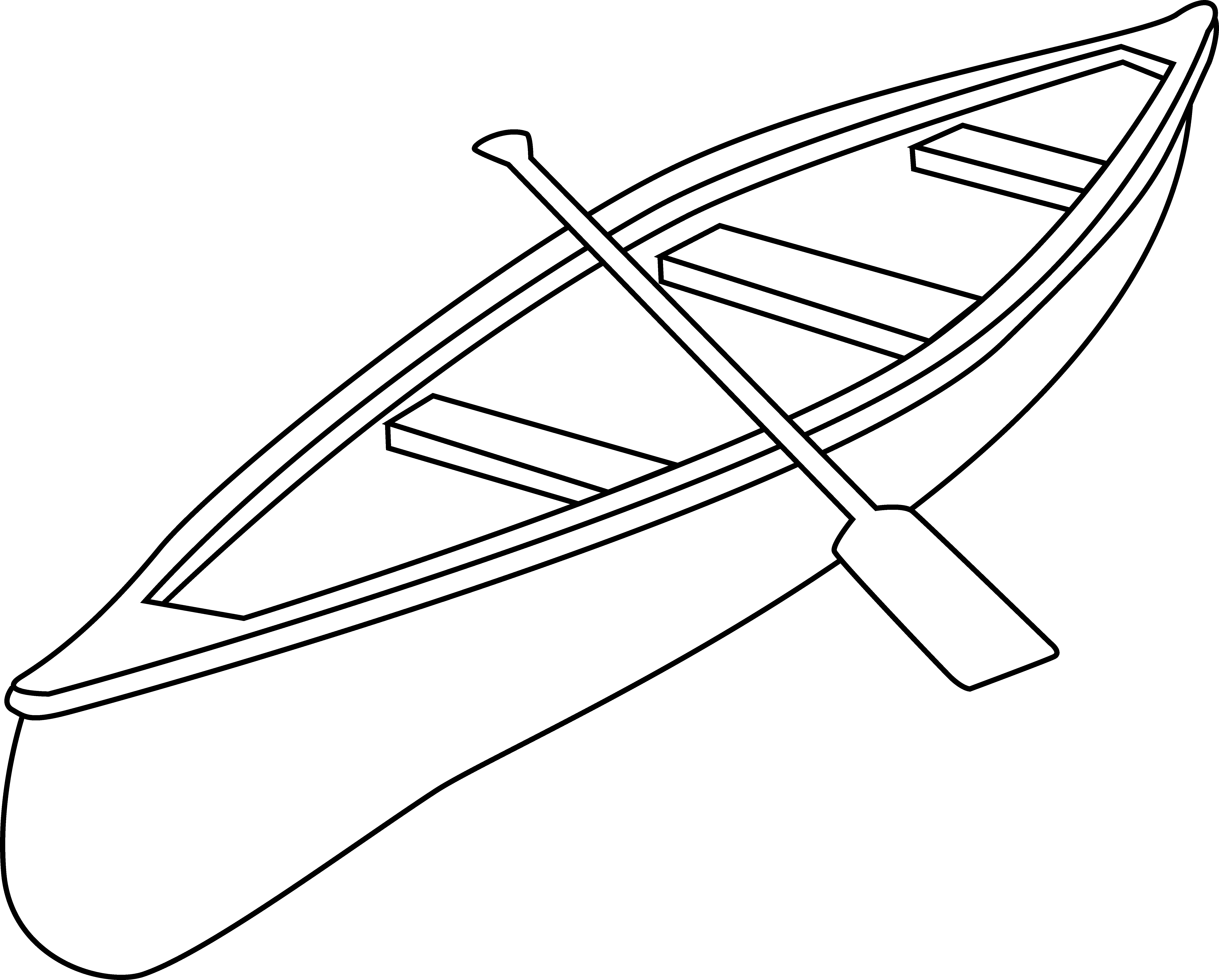 Canoeing clipart black and white