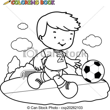 Black and white outline clipart playing children png transparent Coloring Book Soccer Kid. A Black And White Outline Image Of A Boy ... png transparent