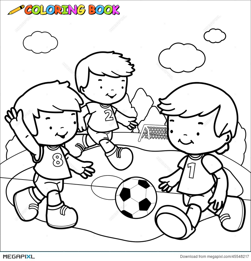 Black and white kids playing soccer clipart vector free library Coloring Book Soccer Kids Illustration 45548217 - Megapixl vector free library