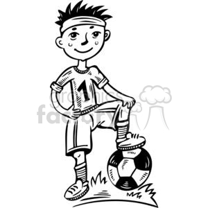 Boy soccer player clipart black and white svg download young boy soccer player clipart. Royalty-free clipart # 381515 svg download