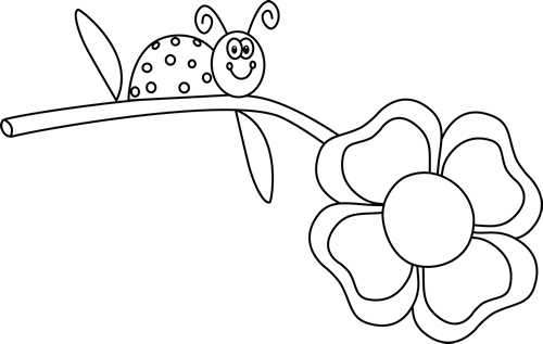 Black and white lady bug stem clipart clip art black and white Black and White Ladybug on a Flower Clip Art - Black and White ... clip art black and white