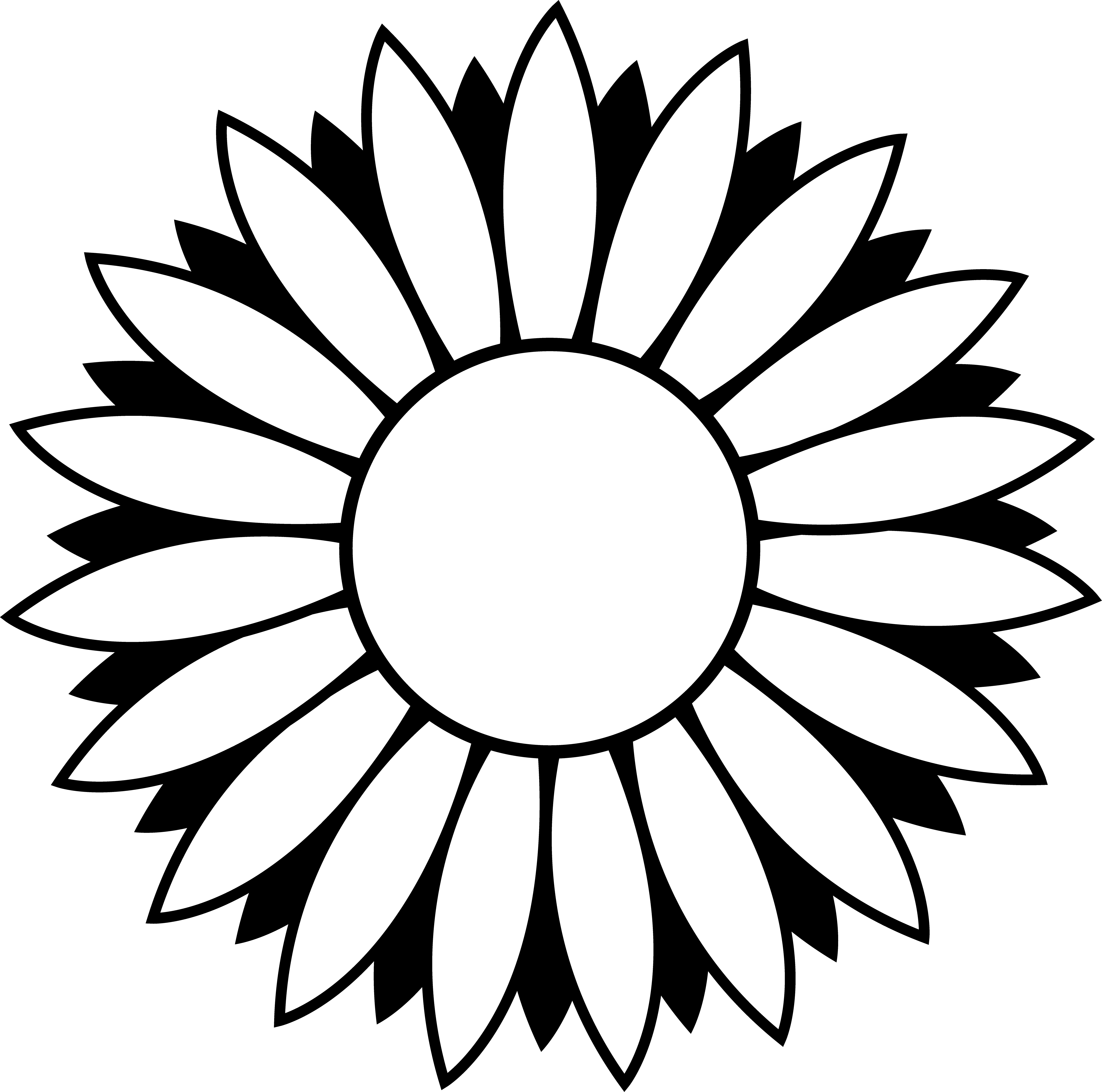 Black and white line drawings clipart picture black and white library Black and White Colorable Sunflower - Free Clip Art picture black and white library