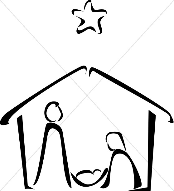 Nativity clipart black and white picture free stock Black and White Nativity Sketch | Nativity Clipart picture free stock