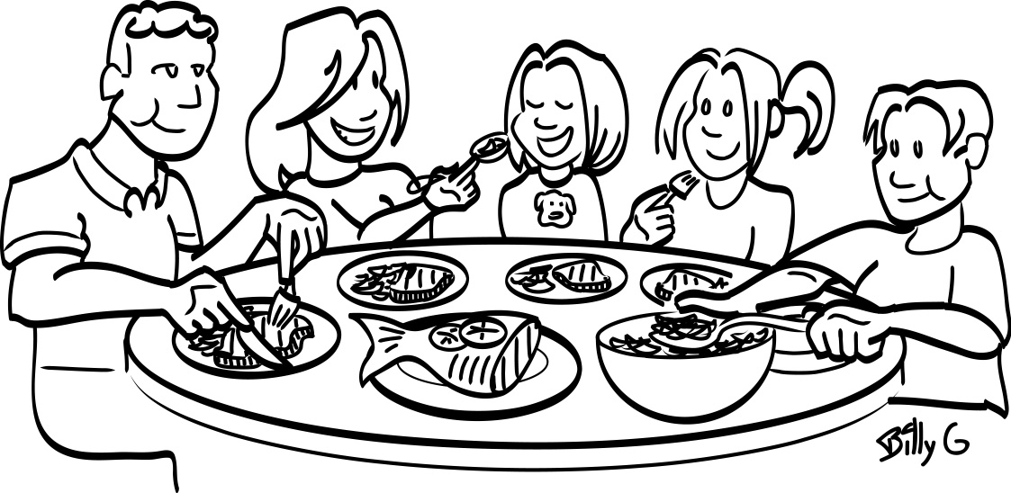 Healthy food fats clipart black and white clipart royalty free Family meal black and white clipart | nutritioneducationstore.com clipart royalty free