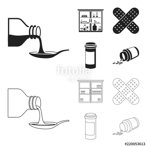Black and white medicine cabinet clipart free clip art transparent download Syrup in a spoon, plaster, honey, medical cabinet.Medicine set ... clip art transparent download