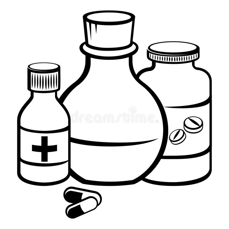 Black and white medicine cabinet clipart free clip art freeuse stock Medicine Bottle Drawing at PaintingValley.com | Explore collection ... clip art freeuse stock