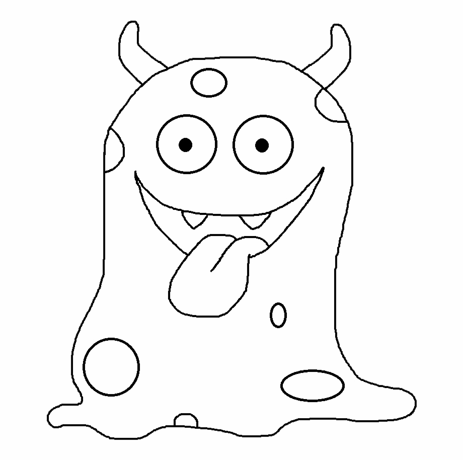 Monster black and white clipart