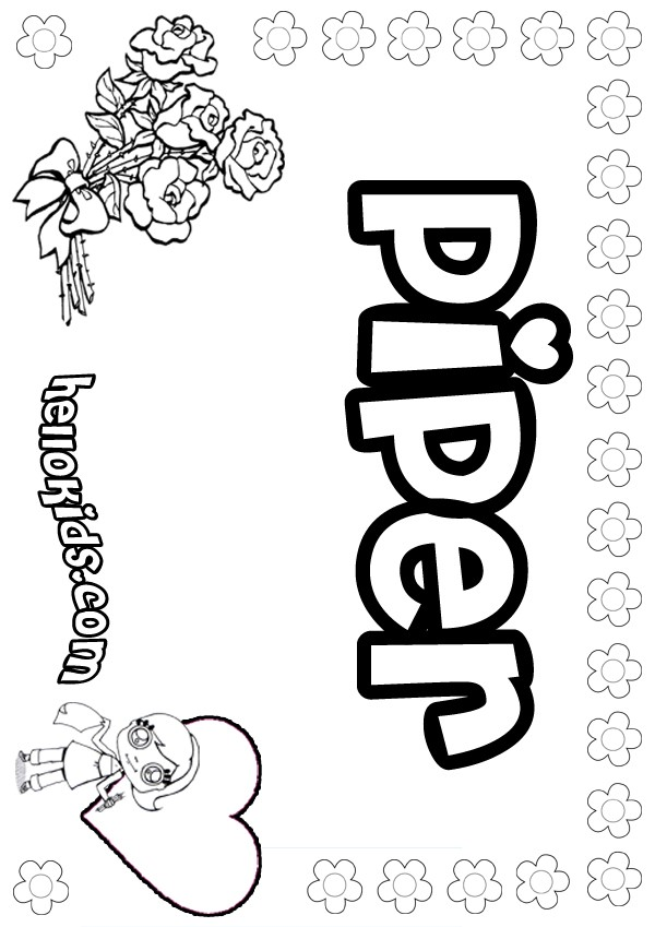 Black and white name piper clipart clip art transparent download Piper coloring pages - Hellokids.com clip art transparent download