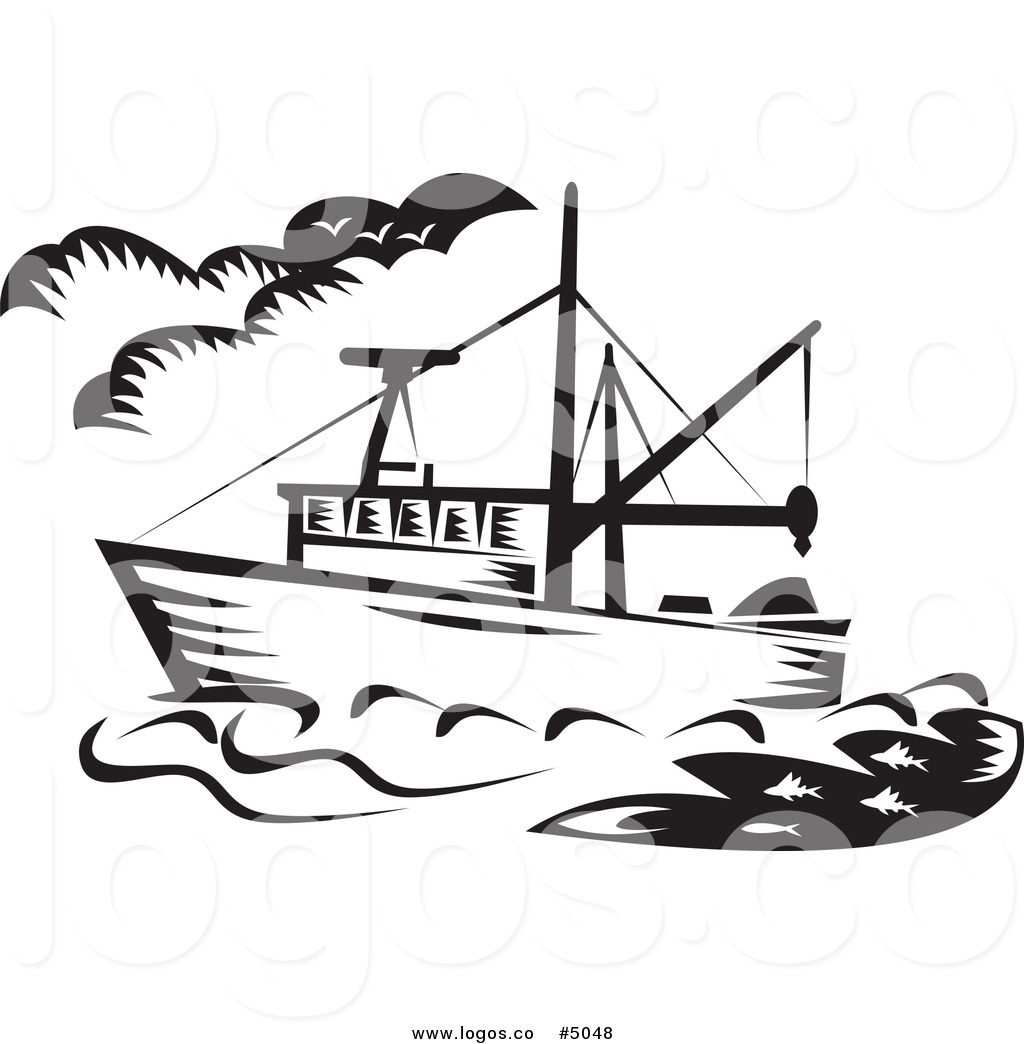 Ship black and white. Fishing fleet clipart