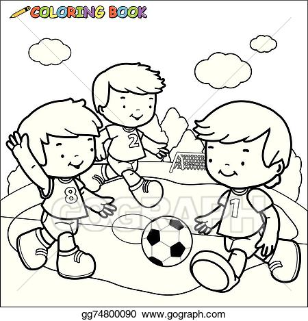 Black and white outline clipart playing children clipart stock Vector Illustration - Children playing soccer. Stock Clip Art ... clipart stock