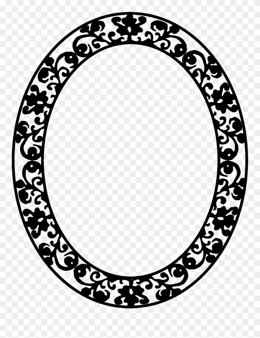 Black and white oval shaped mirror clipart vector Mirror Clipart Large - Oval Frame Png Black Transparent Png (#189362 ... vector