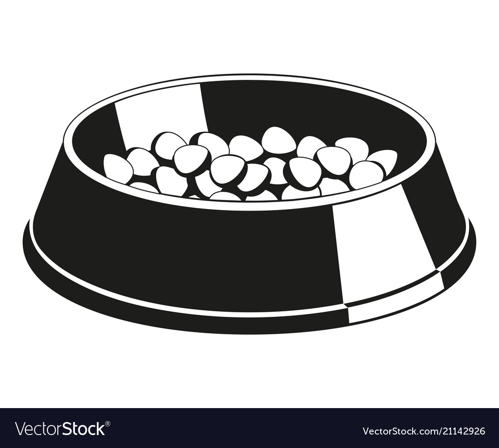 Pet food clipart black and white image black and white stock Black and white pet food bowl silhouette vector image image black and white stock