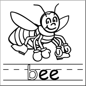 Black and white pictures clipart words with ee vector royalty free Clip Art: Basic Words: -ee Phonics: Bee B&W I abcteach.com | abcteach vector royalty free