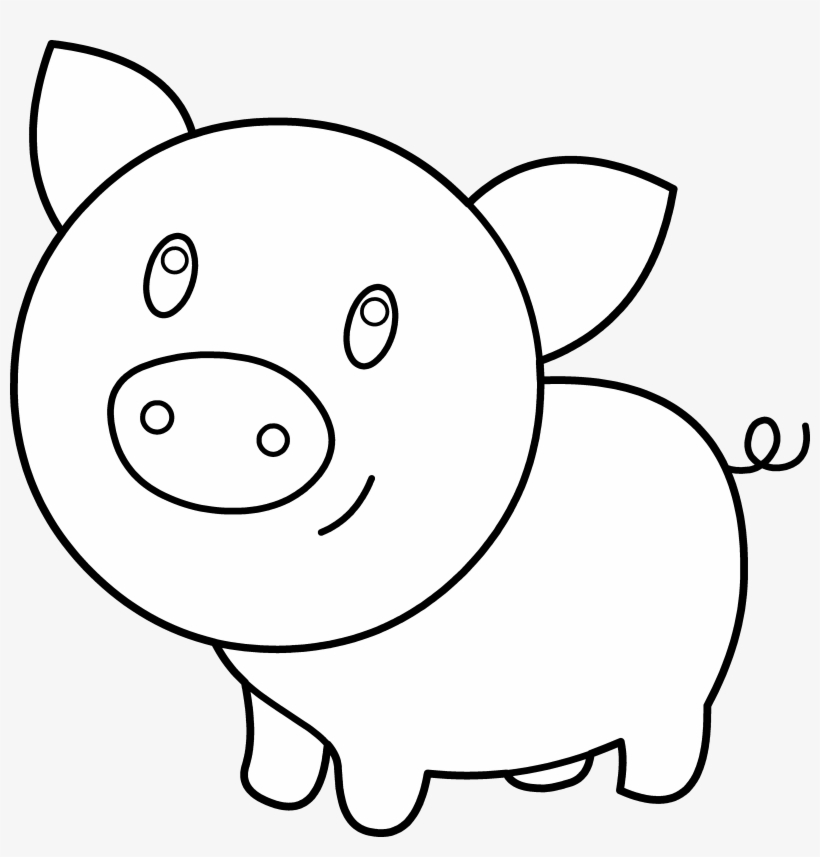 Black and white pig clipart vector black and white download Clipart Pig Template - Pig Clipart Black And White Outline - Free ... vector black and white download