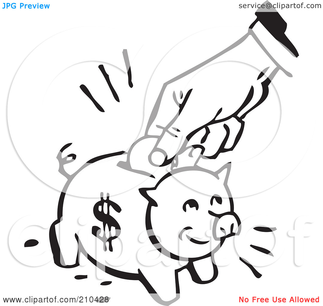 Black and white piggy bank clipart image freeuse library Piggy Bank Black And White Clipart - Clipart Kid image freeuse library