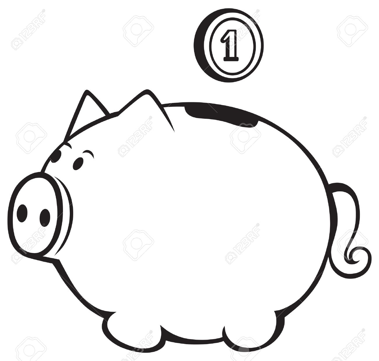 Black and white piggy bank clipart clip art stock Piggy Bank Isolated On White Royalty Free Cliparts, Vectors, And ... clip art stock
